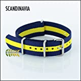 G10 Nato Nylon Watch Strap, Scandanavia, Navy Blue & Yellow stripes