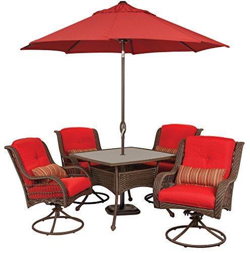 Bella Vista 7 Piece Patio Furniture Dining Set with Umbrella and Base (Wicker, Brick Red) by La-Z-Boy Outdoor