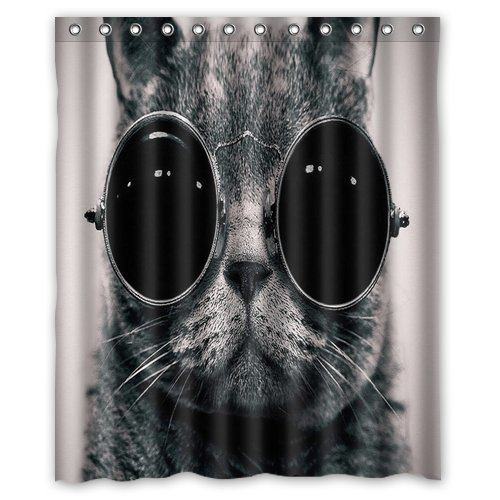 Unique and Generic Steampunk Cat Shower Curtain Custom Printed Waterproof fabric Polyester Bath Curtain 60
