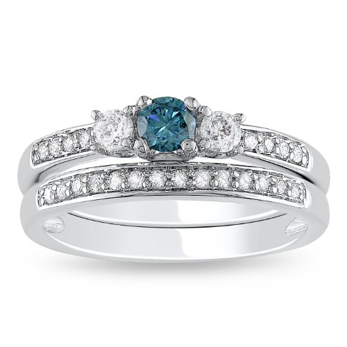 14K White Gold Blue And White Diamond Bridal Set Ring (1/2 Cttw, G-H Color, I1-I2 Clarity), Size 7