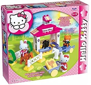 BIG - 57012 - Play BIG Bloxx - Ecurie à poneys Hello Kitty avec figurines Hello Kitty inclus