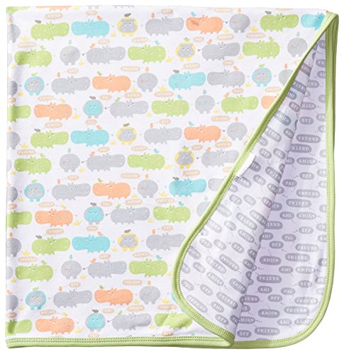 Magnificent Baby Unisex-Baby Newborn Reversible Blanket, Unisex Hippo, One Size - 1