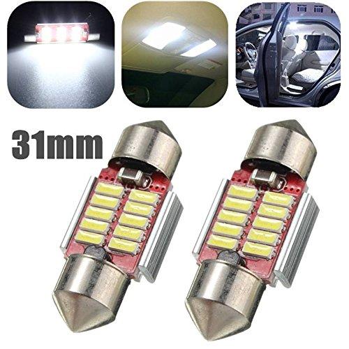 AUDEW-2x-31mm-Lampadine-auto-C5W-cupola-del-festone-CANBUS-Dome-Festoon-10-4014SMD-LED-Lampada-LED-porta-lettura-soffitto-Interior-DC-12-24V-Bianco