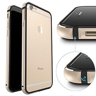 iPhone 6 Case, KEWEK Aluminum Metal Bumper (No Signal Reduce) Flexible TPU Inner Frame Dual Layer Shock Absorbing Phone Case for iPhone 6/6s (Pink) from HHkotda