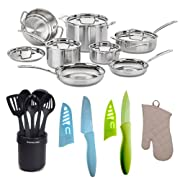 Cuisinart MCP-12N MultiClad Pro Stainless Steel 12-Piece Cookware Set + KitchenAid Cooks Ceramic Crock With Tools Set Black + Two Knives + Oven Mitt Bundle