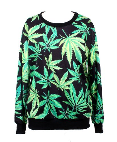 Pandolah Neon Galaxy Cosmic Colorful Patterns Print Sweatshirt Sweaters (Free size, Leaf)