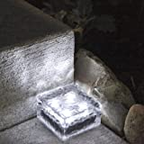 "4"" x 4"" Frosted Glass Solar Brick Paver Light with 4 LEDs - Cool White"
