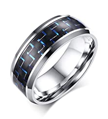 buy Stainless Steel Carbon Fiber Inlaid Wedding Ring For Men Marriage Promise Engagement,8Mm,Silver