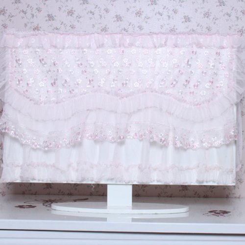Neewer® White+Pink Lace Protector Tv Cover For 37 Inch Led / Lcd / Plasma Tv - Unfolded 95X12X70Cm