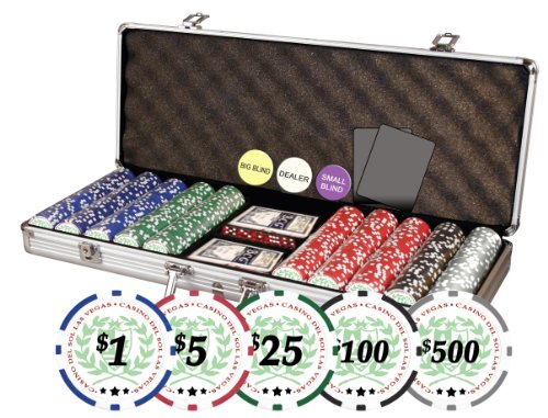 Professional Set of of 500 Casino Del Sol 11.5 gram Poker Chips w/Case, Cards, Dealer Buttons, & 2 Cut Cards
