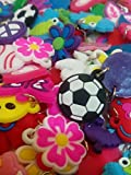 100 Silicone Charms - By Toto Charms - Value Pack - Compatible with All Common Bracelet Rubber Band Loom Kits - Assorted Designs - Colourful - For Childrens' Jewelry, Arts & Crafts