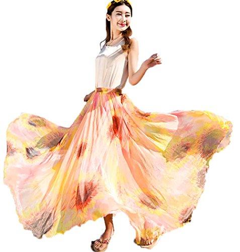 652ea10285 Dreagal Full/ankle Length Elastic Pleated Retro Maxi Chiffon Bohemian Long  Skirt