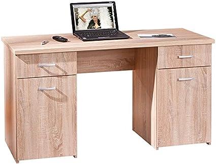 Bureau avec 2 portes et 2 tiroirs Chêne de Sonoma en bois massif, Dim : 138 x 60 x 76 cm -PEGANE-