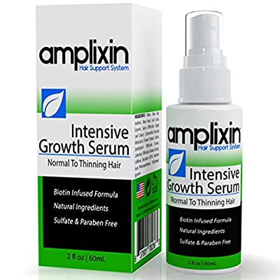Amplixin Intensive Hair Growth Serum Against Hair Loss, Receding Hairline and Baldness, Infused with Biotin and Caffeine, Promotes Healthy Hair Growth, SLS and Paraben Free