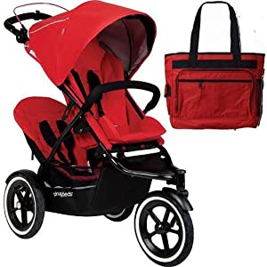 Phil Teds Navigator Buggy Stroller with Doubles Kit and Diaper Bag - Cherry by phil&teds