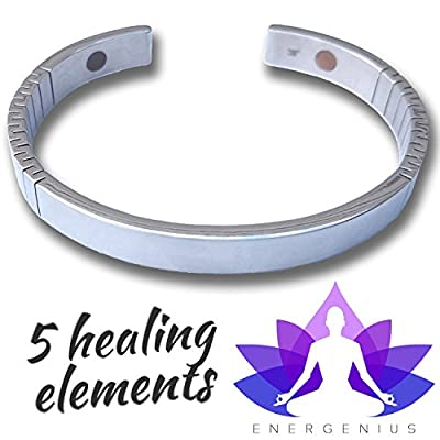MAGNETIC BRACELET ? Arthritis Pain Relief ? Back Pain Joint Pain Muscle Pain ? Migraine Relief ? 5 ELEMENT Magnetic Therapy ? Negative Ions ? Stainless Steel ? Natural Healing