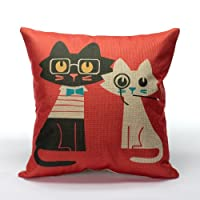 """DuoLe Cotton Linen Square Decorative Cushion Cover Sofa Throw Pillowcase 18"""" x 18"""" Lovers Cat from DuoLe"""