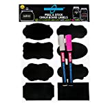 Chalkboard Labels bundle set w/ 2 Liquid Chalk Markers Pink and White. hassle free large and reusable + liquid chalk pen (round/chisel tip) for any decorations (48 Labels + 2 Markers SnL)