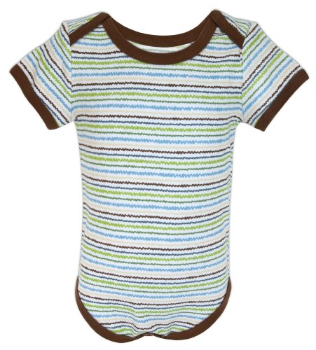 Stephan Baby All-in-One Diaper Cover with Chocolate Trim, Snappy Stripes, 6-12 Months