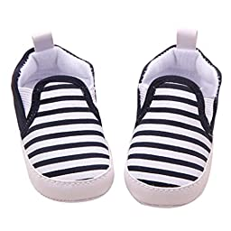 Voberry® Baby Boys Girls Toddlers Striped Sneakers Soft Sole Anti-slip Outdoor Canvas Shoes (12~18 Month, Black)