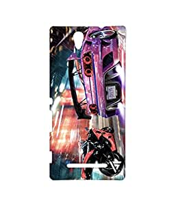 Vogueshell Bike And Car Race Printed Symmetry PRO Series Hard Back Case for Sony Xperia C3