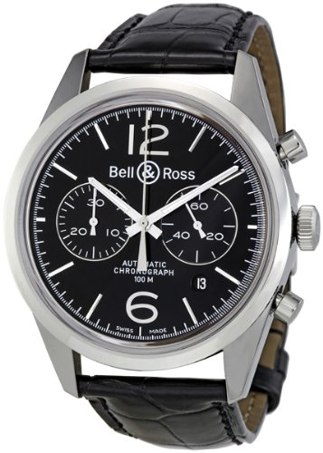 Bell and Ross Vintage Officer Black Dial Chronograph Mens Watch BR126-OFFICER-BL