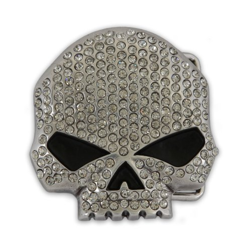 Harley-Davidson® Women's Collector Belt Buckle. Willie G Skull - Clear Crystal Embellishment. W10088-CRY