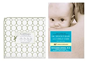 SwaddleDesigns Ultimate Receiving Blanket with Dr. Spock's Baby & Child Care Guide, Mod Circles on White / Sage