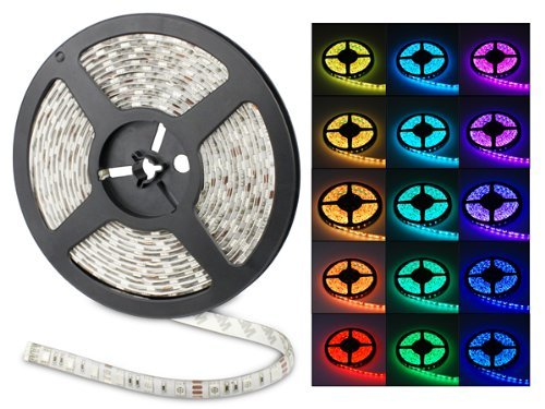Waterproof Led Lighting Strip Rgb Color Changing 300 Smd Led, 5 Meter Or 16.4 Ft, Flexible Strip Light