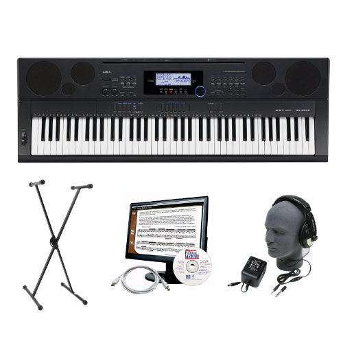 Casio Wk-6500 76-Key Portable Premium Keyboard Package With Headphones, Stand, Power Supply, 6-Feet Usb Cable And Emedia Instructional Software