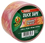 Duck Brand 1398228 Cosmic Tie-Dye Printed Duct Tape, Orange/Pink, 1.88-Inch by 10 Yards, Single Roll