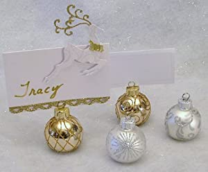 Elegant Set of 4 Silver / Gold Place Card Holders ; Photo Holders