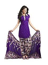S.B CREATION Women'S Faux Crepe Purple Salwar Suits Dress Material (Loveblue99_Blue_Freesize)