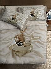 Ipersan Bunnies In Love Fine-Art Parure Copripiumino Fotografico, Piazzato, Cotone, Beige, Matrimoniale