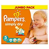 Pampers Simply Dry Nappies Size 5 Jumbo Pack 66 per pack case of 1