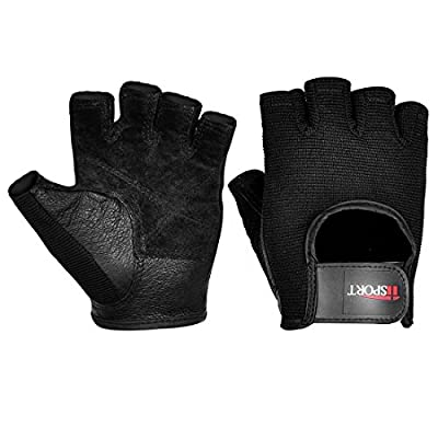 iiSPORT Mens Weight Lifting Gloves Leather Grip Gym Workout Crossfit Bodybuilding Fitness Gloves from iiSPORT