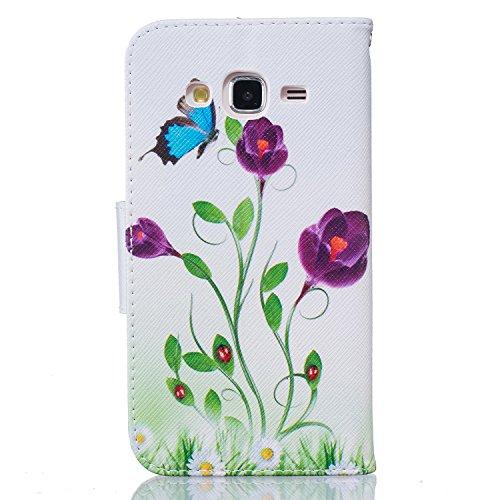 Cozy Hut® Samsung Galaxy J5 Housse, Ultra-mince Etui En Cuir PU Flip Cassette Intérieur Pour Cartes Pour Samsung Galaxy J5 - papillon bleu