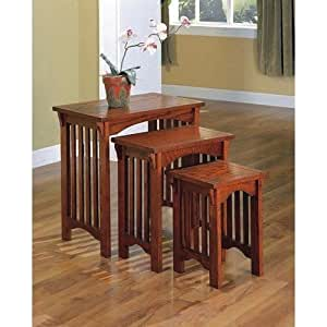 Mission style nested table set kitchen dining for Mission style kitchen table