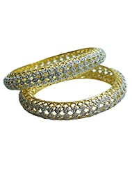 Sheetal Jewellery Silver & Golden Brass & Alloy Bangle Set For Women - B00TIH2W70