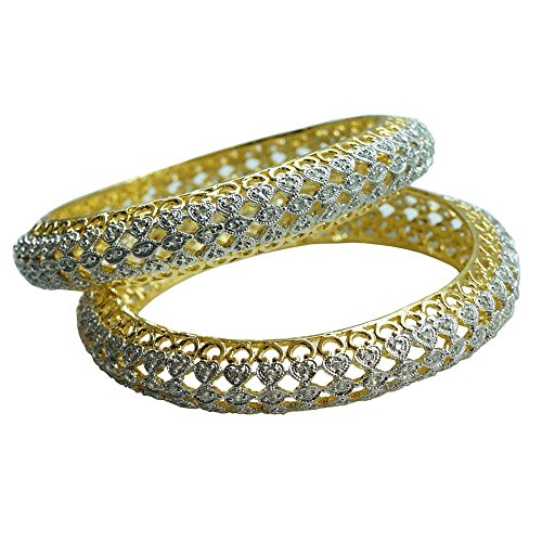 Sheetal Jewellery Silver & Golden Brass & Alloy Bangle Set For Women - B00TIH3WCY