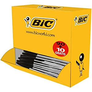 BiC Cristal Medium Stick Ballpoint Pens - Black (Pack of 90, Plus 10 Free)