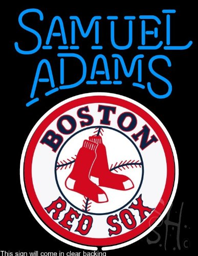 "Sam Adams Boston Red Sox Clear Backing Neon Sign 31"" Tall x 24"" Wide at Amazon.com"
