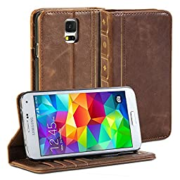 Galaxy S5 case, GMYLE [Book Style] Samsung Galaxy S5 Wallet Case [Vintage] [Brown] + Crazy Horse Pattern PU Leather Filp Case Cover for Galaxy S5 / Galaxy SV / Galaxy S V (2014) - Retail Packaging - Brown
