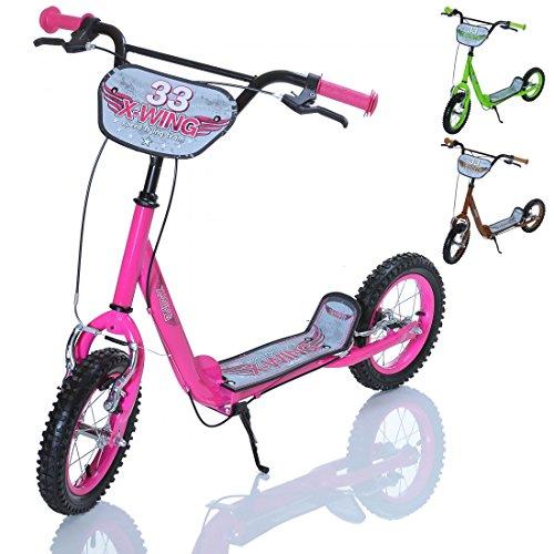 X-WING-Kinder-Roller-Scooter-als-Tretroller-mit-Bremse-Farbe-rosa