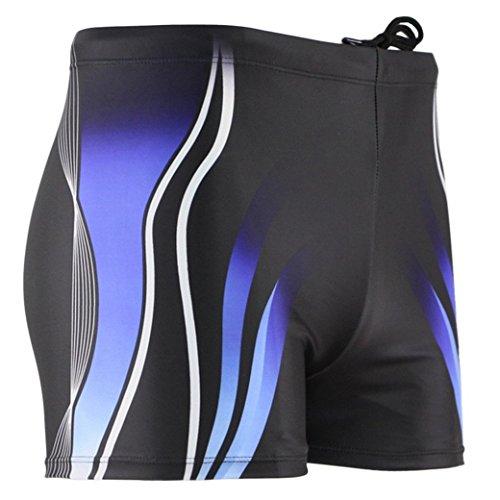 Panegy - Costume da bagno sportivo, per uomo, boxer/pantaloncini con grafica multicolor, Ragazzo Uomo nuoto, Rayé Bleu, FR:S/Etiquette L(Tour de taille: 76-81cm)