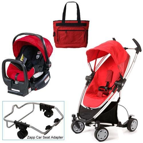 Quinny Rebel Red Zapp Xtra Travel System with Britax Red Car Seat Diaper Bag