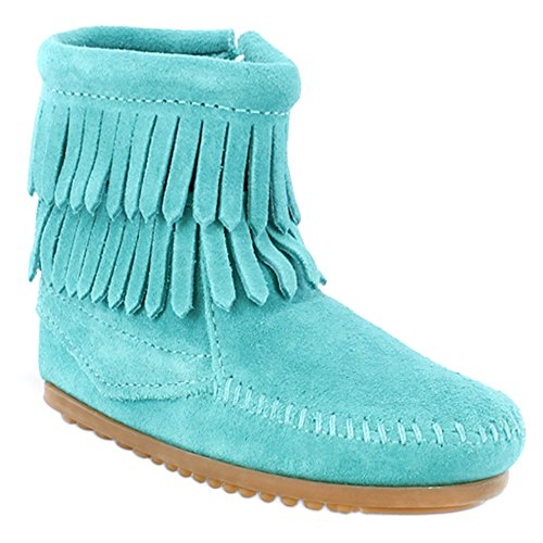 Minnetonka Unisix-Child Kid s Double Fringe Size Zip Boots 7 Toddler M Turquoise