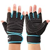 Coromose Durable Blue Weight Lifting Training Workout Sports Gloves M