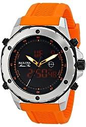 Bulova Men's 98C118 Analog-Digital Display Japanese Quartz Orange Watch