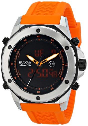 Bulova-Mens-98C118-Analog-Digital-Display-Japanese-Quartz-Orange-Watch